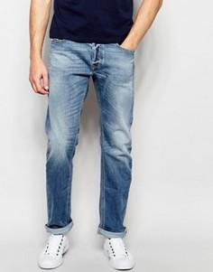 Светлые свободные джинсы прямого кроя Diesel Waykee 842H - Синий