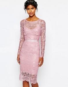 Свадебное платье мятного цвета с отделкой на поясе Body Frock - Розовый