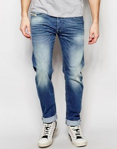 Синие эластичные джинсы с суженными книзу штанинами Diesel Belther 850W - Синий