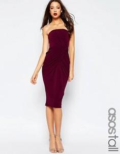Платье миди с лифом-бандо и перекрученной драпировкой ASOS TALL - Фиолетовый