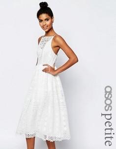 Платье миди из кружева с геометрическим узором ASOS PETITE Premium - Мульти