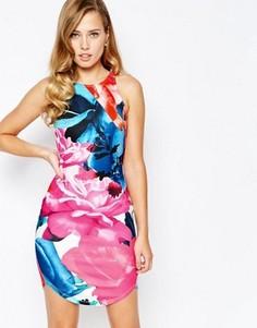 Облегающее платье со сплошным цветочным принтом Ginger Fizz - Мульти