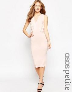 Платье миди с оборками без рукавов ASOS PETITE - Розовый