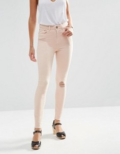 Розовые джинсы скинни с рваной отделкой ASOS RIDLEY - Розовый