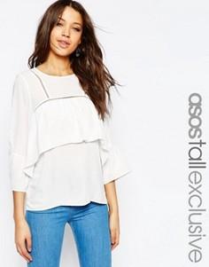 Блузка с оборками и отделкой ASOS TALL - Белый