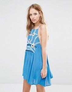 Короткое приталенное платье с цветочной вышивкой Piper Sumatra - Синий