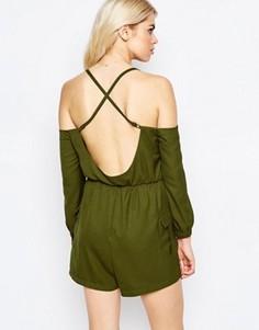 Комбинезон с открытой спиной и плечами Daisy Street - Зеленый