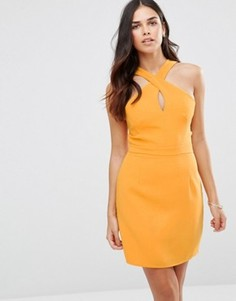 Платье мини с перекрестом на горловине Adelyn Rae - Желтый