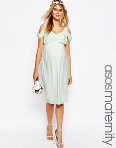 Драпированное платье-футляр миди с вырезами на плечах ASOS Maternity WEDDING - Зеленый