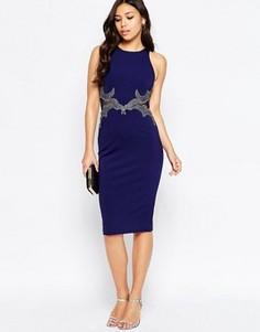 Платье миди с отделкой на талии Little Mistress Wiggle - Темно-синий