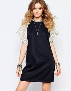 Темно-синее цельнокройное платье мини Stevie May Gold Flower - Темно-синий