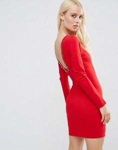 Платье мини с глубоким вырезом сзади и отделкой Forever Unique Gwyneth - Красный