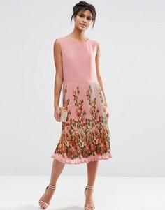 Платье миди со складками и принтом на юбке ASOS - Мульти