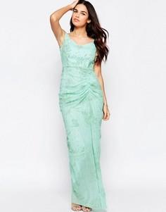 Платье макси с оборкой спереди VLabel India - Зеленый