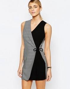 Платье с контрастным дизайном и запахом в стиле смокинга Love - Серый