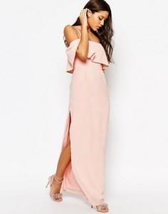 Платье макси с открытыми плечами ASOS - Розовый