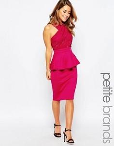 Платье с кружевным лифом и баской Lipstick Boutique Petite - Розовый