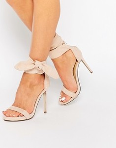 Легкие босоножки на каблуке с декоративным узлом Missguided - Бежевый