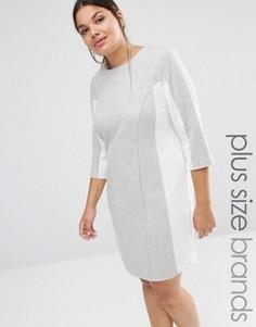 Цельнокройное платье с контрастными вставками Carmakoma - Серый