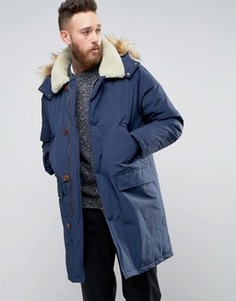 Темно-синяя куртка с воротником борг ASOS - Темно-синий