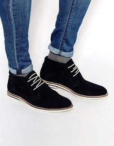 Темно-синие замшевые ботинки чукка Dune - Синий