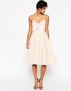 Приталенное платье миди с отделкой ASOS - Розовый