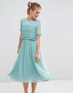 Платье миди для выпускного с укороченным кружевным лифом ASOS SALON - Зеленый