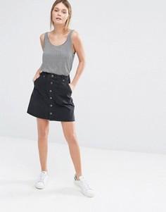 Джинсовая юбка-трапеция на пуговицах спереди New Look - Синий