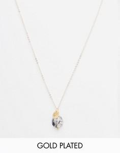 Позолоченная цепочка 45 см с кварцем и монеткой Mirabelle - Золотой