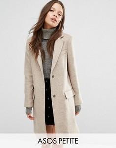 Полушерстяное пальто слим ASOS PETITE - Черный