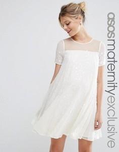 Свободное платье для беременных с переливающимися пайетками ASOS Maternity - Кремовый
