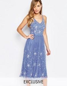 Платье миди с отделкой и бретельками Frock and Frill - Синий