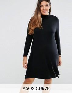 Платье-туника из кашемировой смеси ASOS CURVE - Черный