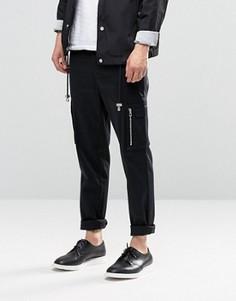 Черные суперзауженные брюки с карманами по бокам ASOS - Черный