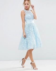 Платье миди для выпускного с кружевной аппликацией ASOS SALON - Синий