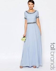 Платье макси с пышной юбкой и отделкой Maya Tall - Синий