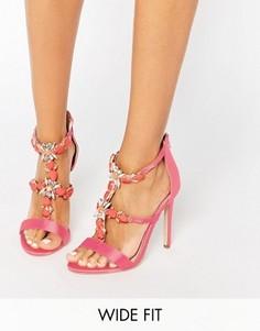 Сандалии для широкой стопы на каблуке с отделкой ASOS HENDERSON - Розовый