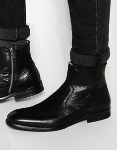 Кожаные ботинки на молнии Hudson London Plant - Черный