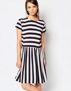 Короткое приталенное платье в полоску Samsoe & Samsoe Vermund - Мульти