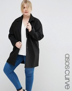 Пальто-кокон в мальчишеском стиле ASOS CURVE - Черный