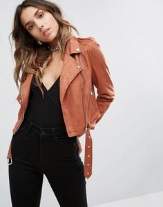 Байкерская куртка из искусственной замши Missguided - Оранжевый