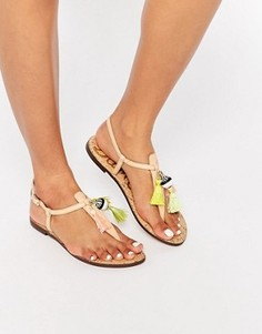 Бежевые сандалии с перемычкой с отделкой кисточками Sam Edelman Garsem - Бежевый
