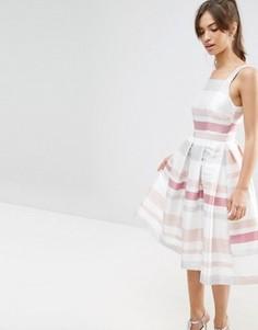 Платье миди для выпускного в полоску в винтажном стиле ASOS - Мульти