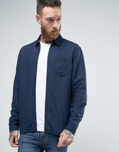 Рубашка на молнии с добавлением льна ASOS - Темно-синий