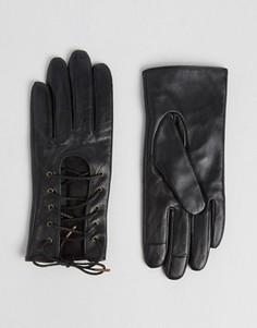 Кожаные перчатки со шнуровкой и накладками для сенсорных экранов ASOS - Черный