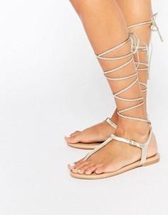 Золотистые сандалии с высокой шнуровкой ALDO Peplow - Золотой