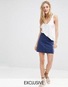 Джинсовая юбка в стиле милитари на пуговицах Northmore Denim - Синий