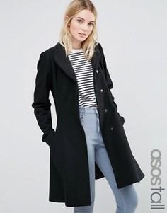 Приталенное пальто из шерстяной смеси с воротником-трубой ASOS TALL - Черный