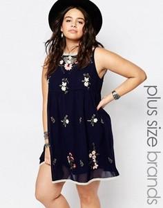 Короткое приталенное платье с цветочной вышивкой Alice & You - Темно-синий