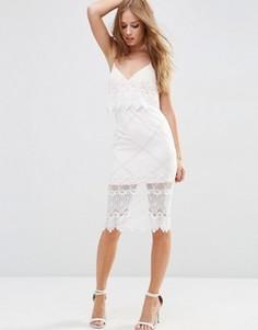 Кружевное платье-футляр миди с укороченным топом ASOS - Кремовый